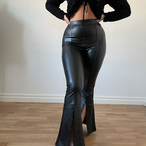 FAUX FLARE SLIT LEATHER PANTS
