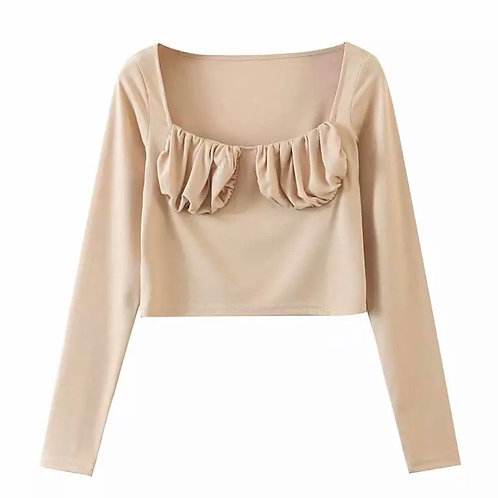 KENDALL BEIGE RUCHED TOP