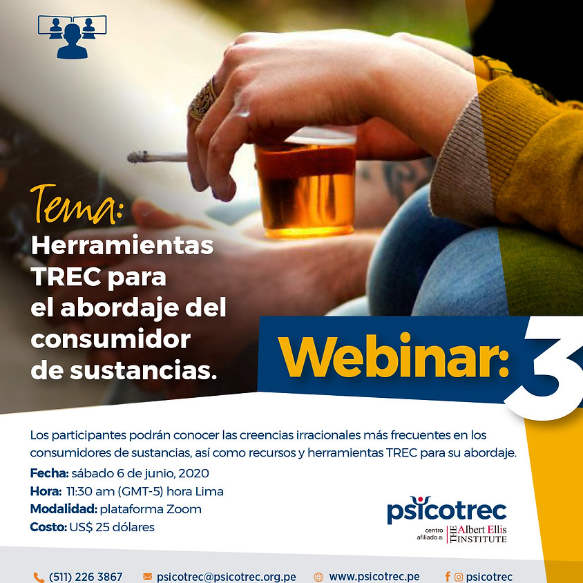 3er Webinar: Herramientas  TREC para  el abordaje del  consumidor de sustancias.