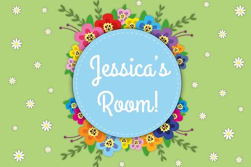 Floral 'my room' metal sign