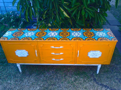 custom painted recycled cabinet