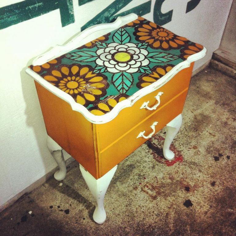 Recycled 1970s Bed Side Table