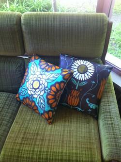 custom stenciled vinyl cushions
