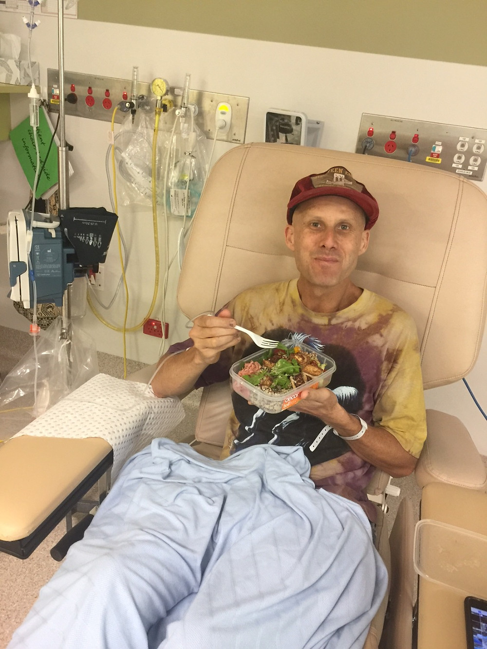 eating a buddah bowl last day of chemo.