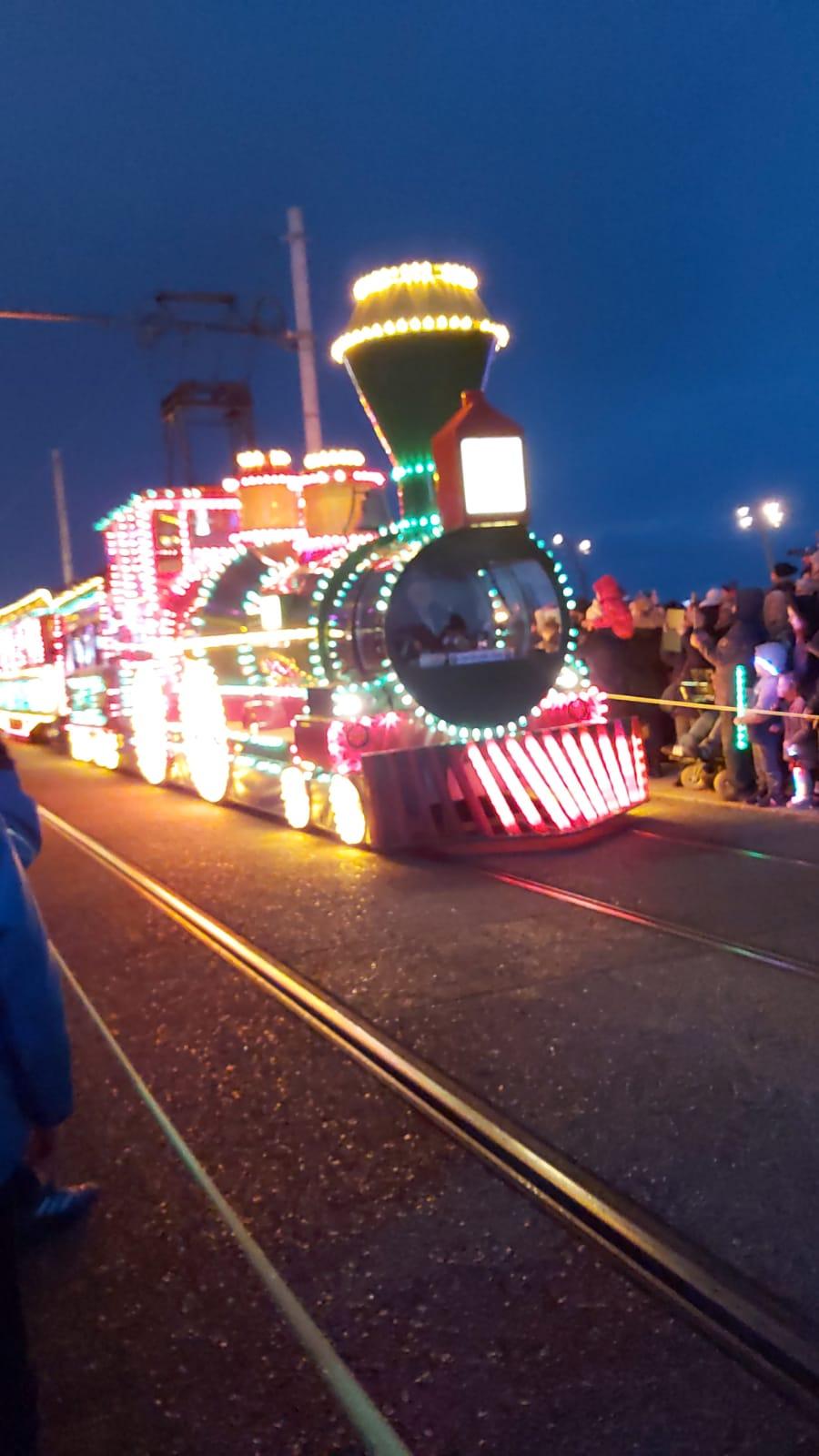 lit up tram