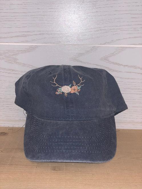 Rustic Floral Deer Antler Hat