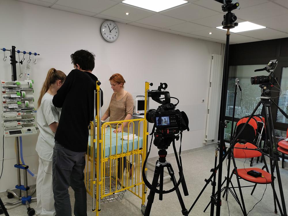 Tournage pour l'APHP à l'hôpital Robert Debré. Réalisation Gwénolé Livinec