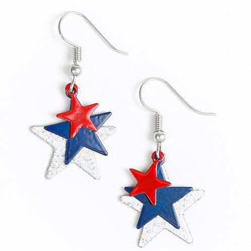 Patriotic Star Starlet Shimmer Earrings