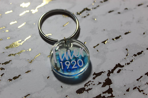 Blue Swirl Finer Woman Keychain - D9 Collection