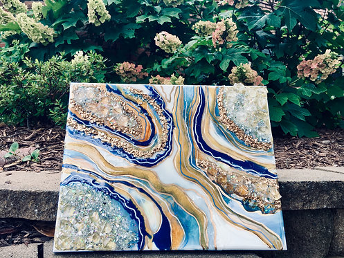 Blue/White/Mustard - 11 x 14 Sample