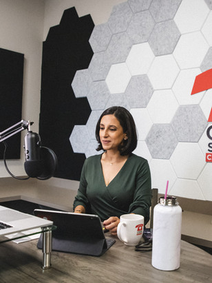 Rania Mankarious in the podcast studio at Crime Stoppers of Houston headquarters