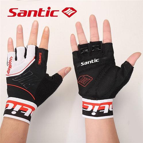 Santic Red & Black Branded Short Finger Cycling Gloves