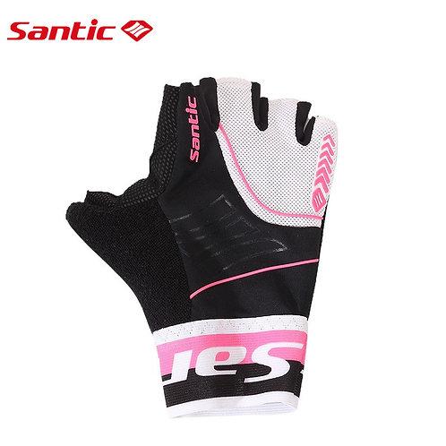 Santic Pink & Black Branded Short Finger Cycling Gloves