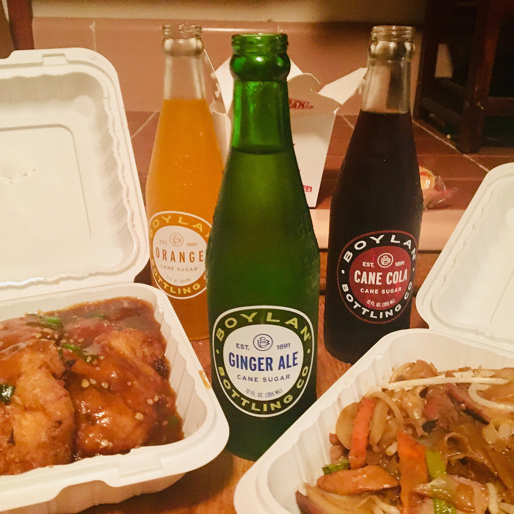 Boylan Soda paired with Pork Egg Foo Young and Chow Fun Rice Noodles from Chinatown in Lecuadia – photo David Boylan