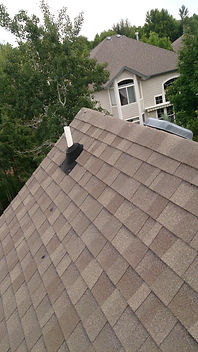Steep pitch rooftop view