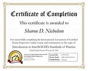 Certificate of Completion Home Inspection training