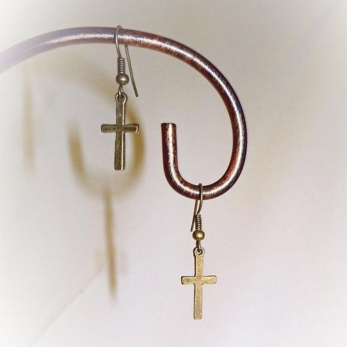 'Bronze Cross' Earrings