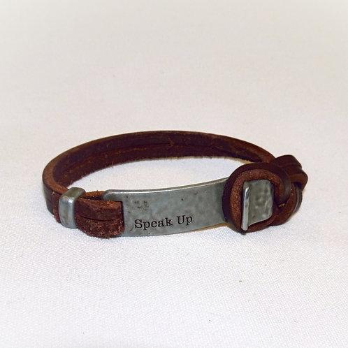 'Speak Up' Leather Bracelet
