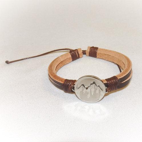 'Faith to Move Mountains' Leather Bracelet