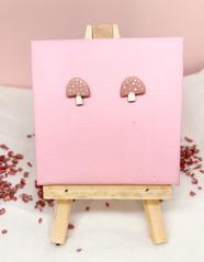 Pink Mushroom Studs