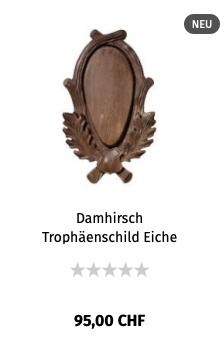 Damhirsch Trophäenschild Eiche geschnitzt