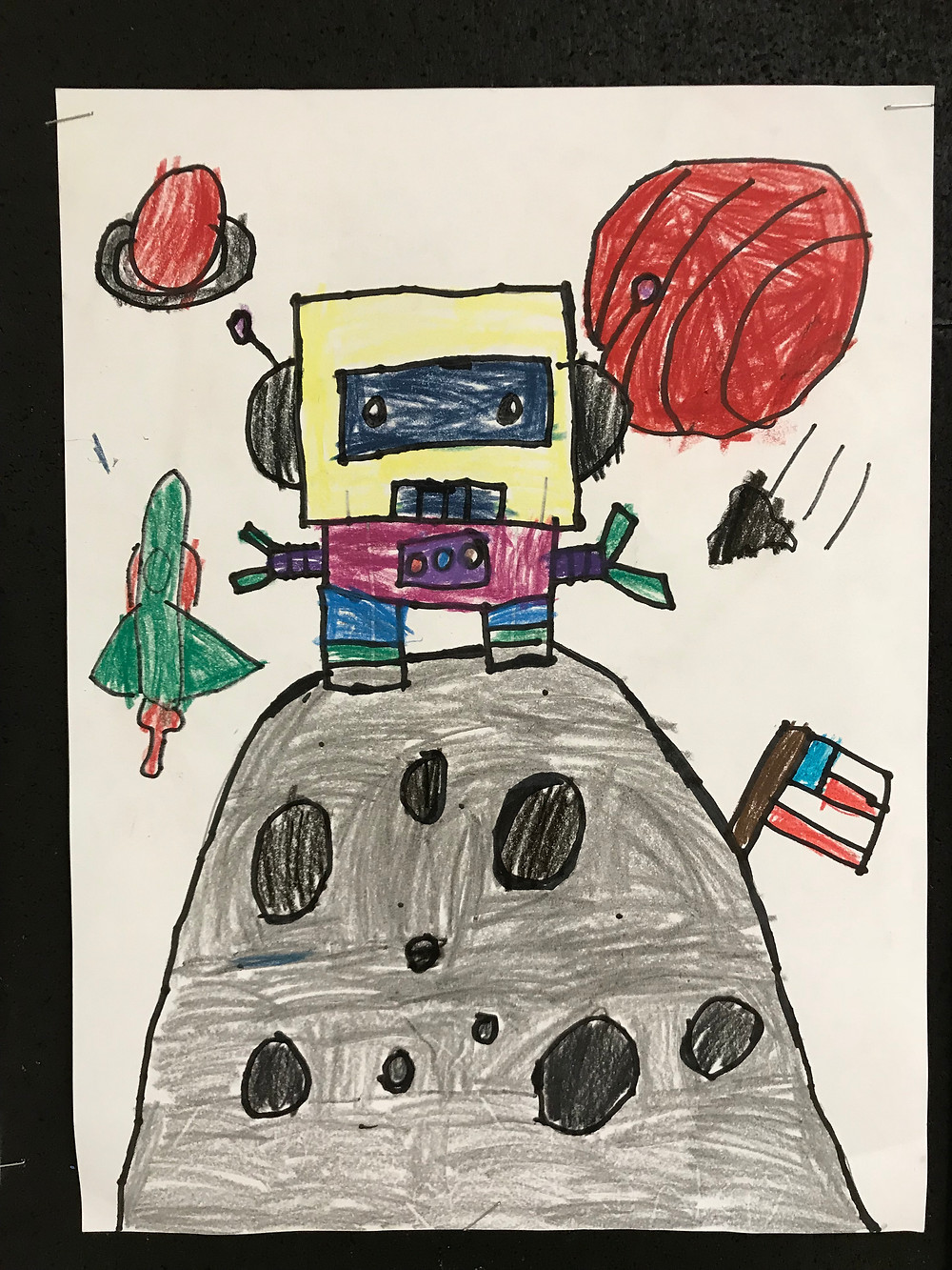 K and 1st grades created these delightful cartoon robots in the Line, Shapes, and color lesson.