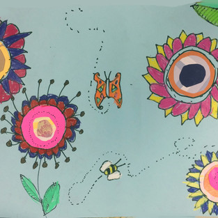 Paper Collage and Prismacolor Stix Flowers
