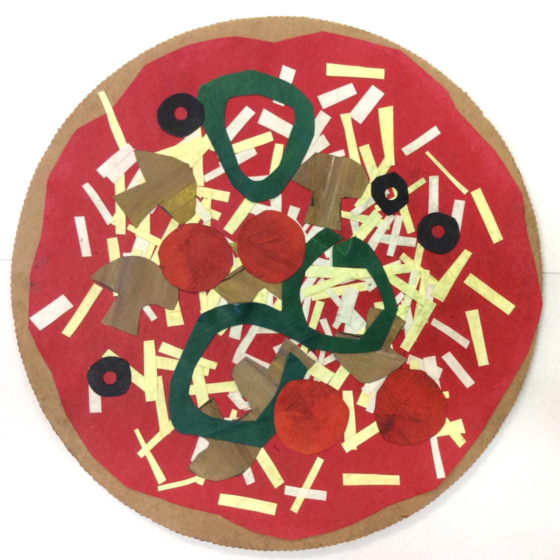 Cardboard & Paper Collage Pizzas