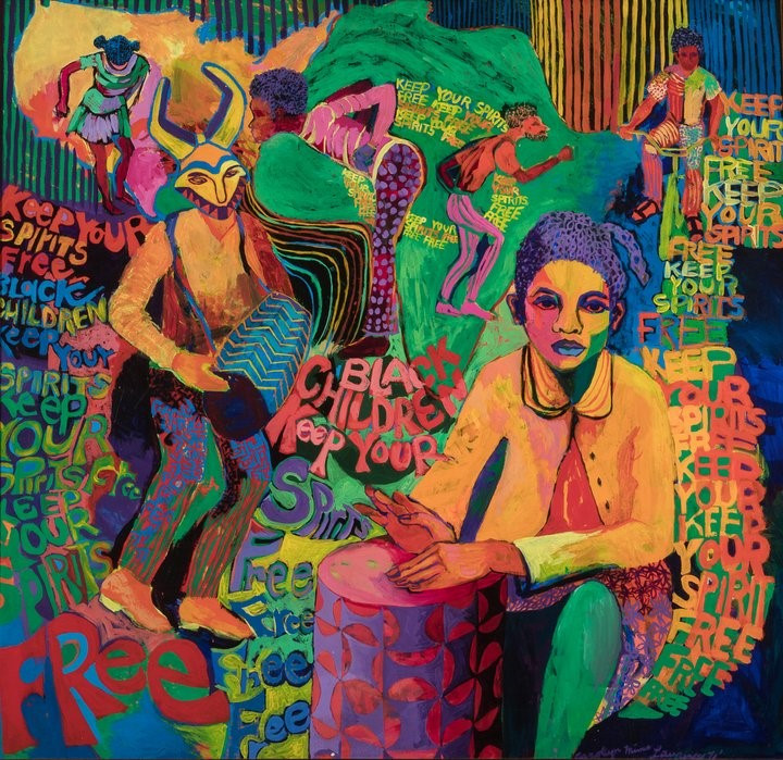 Figure 3: Carolyn Mims Lawrence, Black Children Keep your Spirits Free, 1972, part of the Chicago Collective AfriCOBRA