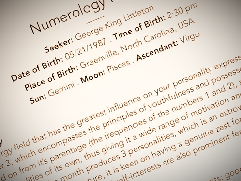 Full Numerology Reading (Written Report)