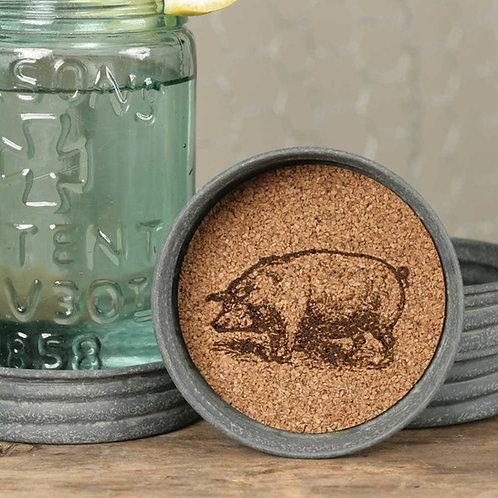 MASON JAR LID COASTER- PIG
