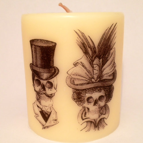 Pillar Soy Candle- Skull Couple