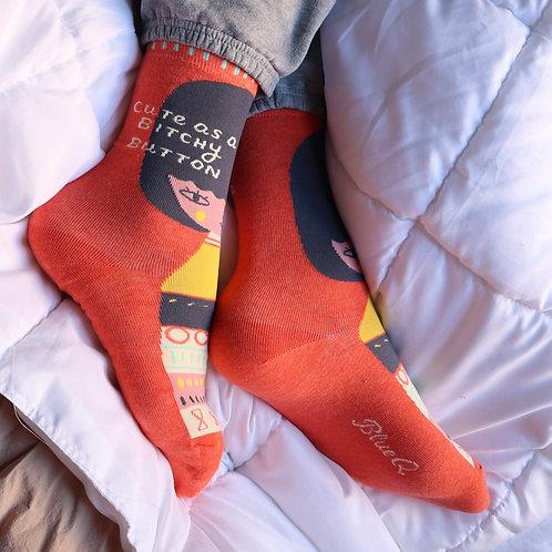 Cute As A B*tchy Button Socks