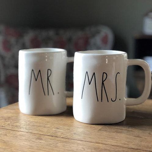 """RAE DUNN """"MRS. & MR."""" MUG SET"""