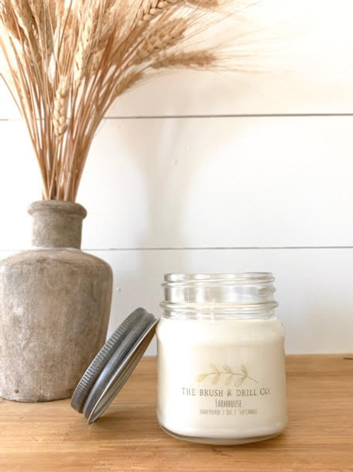 8oz Mason Soy Candle: Farmhouse