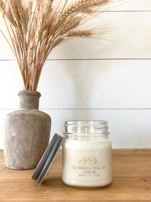 8oz Mason Soy Candle: Cotton Stems