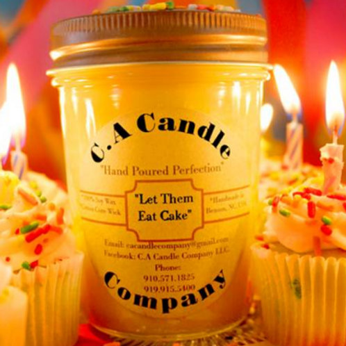 "Fundraiser: ""Let Them Eat Cake"" 8oz Soy Candle"