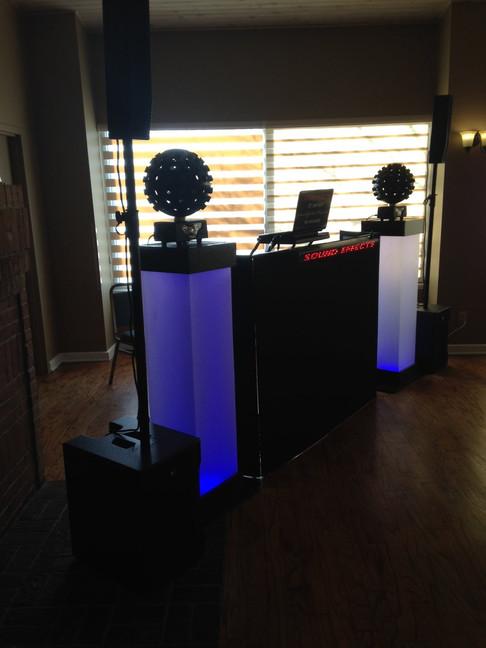 Wedding set up with star balls and light columns