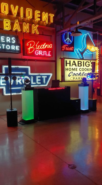 Bright setup for event at Cincy Sign Museum.