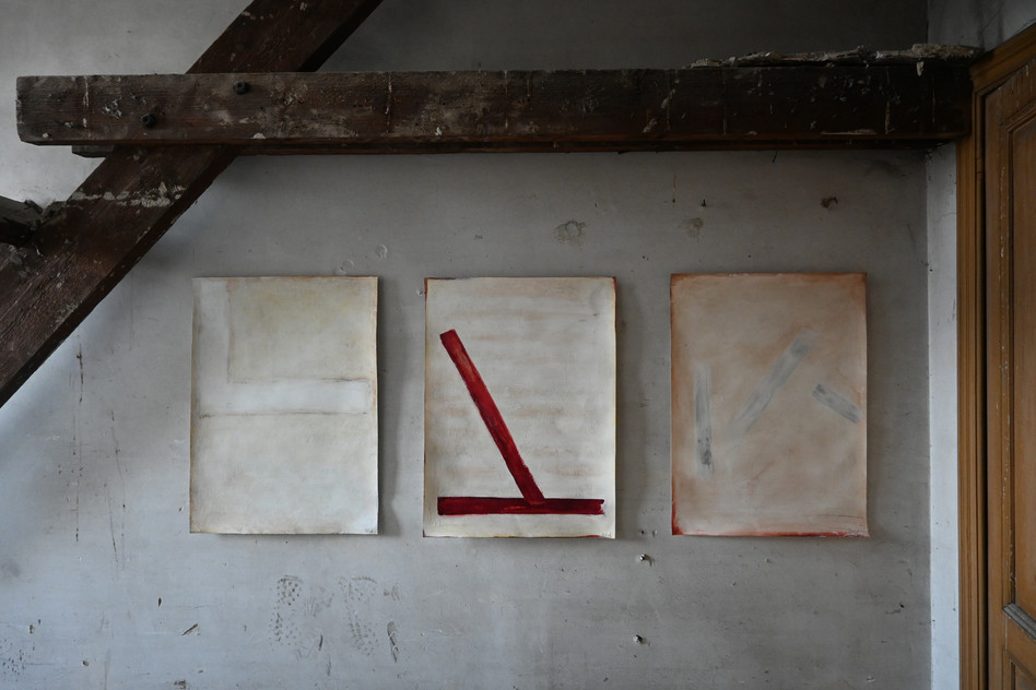 Set of three paper works