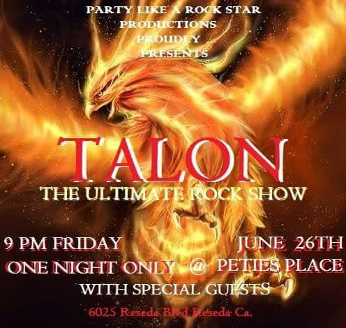 Special hard rock show this Friday night 6/26/15 at Petie's Place with Talon Featuring Gail Sutt