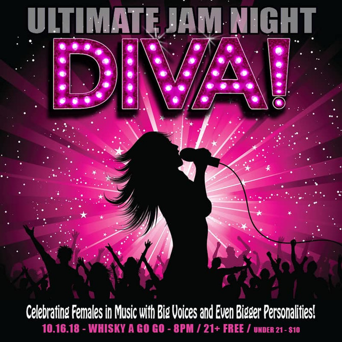 DIVAS UNITE! I'm playing in The ULTIMATE JAM NIGHT at The Whisky-A-Go-Go tomorrow night, Tuesday