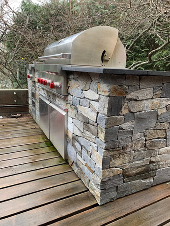 Built in Barbeque with Stone veneer, Eagle Island, West Vancouver BC