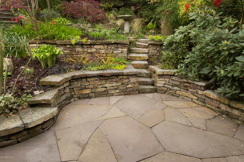 Basalt retaining wall with Lilac Bluestone Patio, North Vancouver BC