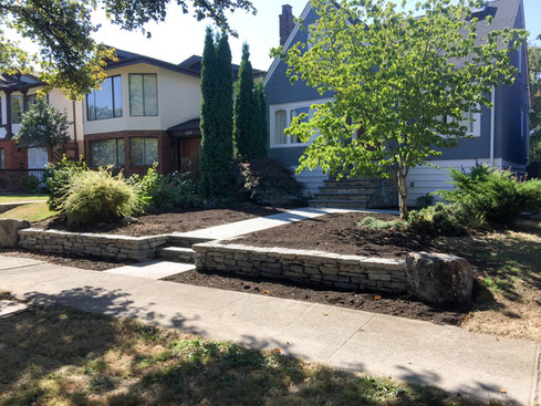 Basalt Retaining wall with Stone Pavers, Vancouver BC