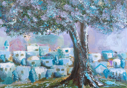 J68-Turqoise Olive Tree with Houses