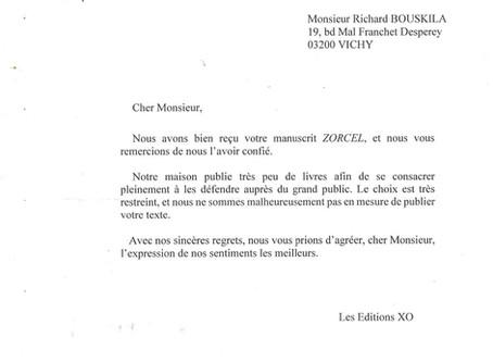 XO réponse d'un éditeur pour un manuscrit déjà édité