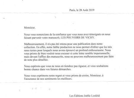 Lettre de Joelle Losfeld faisant partie de la filière du groupe Gallimard. Refus de publication.