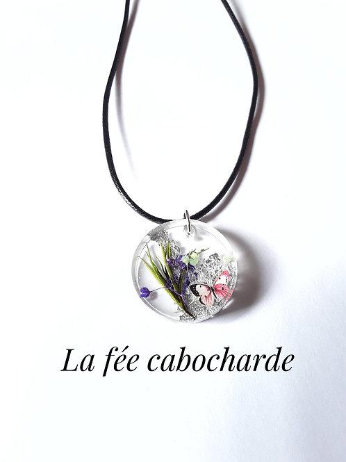 """Médaillon """"Fleurs séchées """" argenté"""