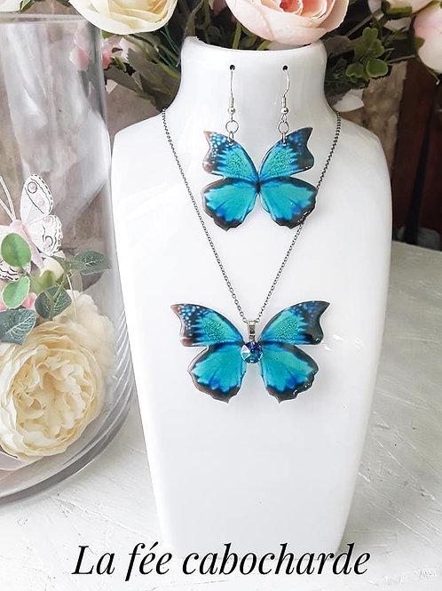 """Parure papillon """"Azur"""""""
